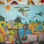 Art from children at the Al Amal Centre, Khan Younis