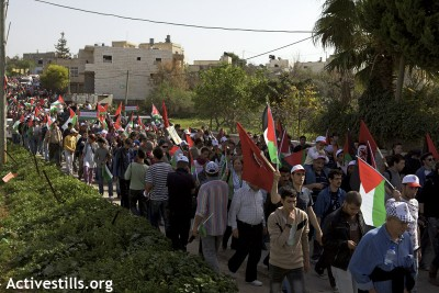 A thousand demonstrators gather to commemorate the 5 year struggle in Bil'in