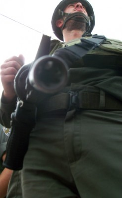 Looking down the barrel of a gun in Beit Jala where protesters sat down in front of a line of Occupation Forces.