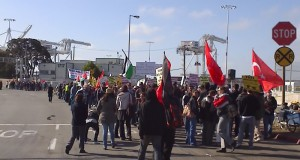 Hundreds of protestors picket the Oakland Docks where the Israeli Zim ship intends to offload cargo.