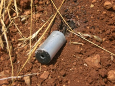 A tear gas projectile of the kind illegally fired directly at protestors at demonstrations in An Nabi Saleh and elsewhere