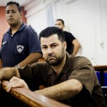 Abdallah Abu Rhamah at court yesterday. Picture credit: Oren Ziv/Active Stills*