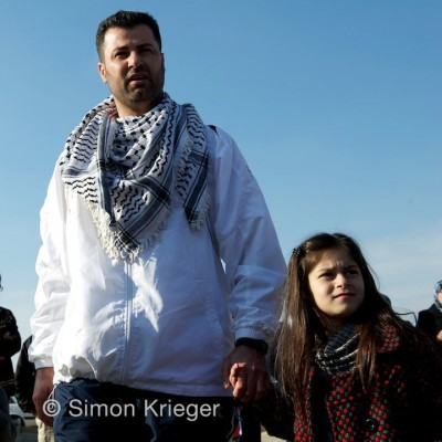 Abdallah Abu Rahmah shortly after he was released. Credit: Simon Krieger