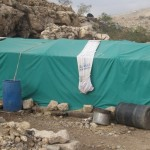EFORE... Rafi Mahmoud Hananis makeshift sheep shelter, erected following demolitions in January.