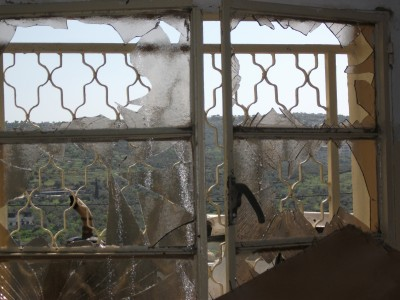 Windows smashed by sound bombs in the night