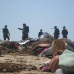 Household belongings scattered after demolition
