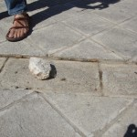 A stone thrown by Israeli settlers at Palestinians