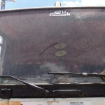 Israeli settlers threw stones, damaging this Palestinian truck.