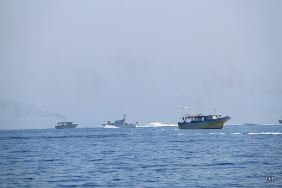 Israeli occupation navy forces harassing fishermen