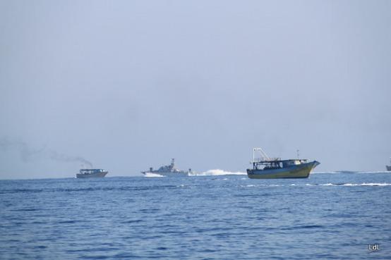 Israeli occupation navy forces harassing fishermen