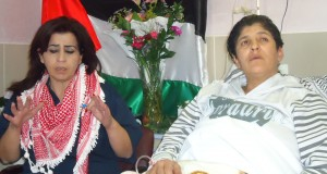 Prisoner rights worker Myassar Atyani and Amal Jamal in a Nablus hospital.