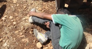 Young Palestinian boy after being kicked by Israeli soldiers