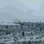 Qusra villagers run from a volley of tear gas