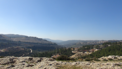 View of Jerusalem and the construction of the illegal railway