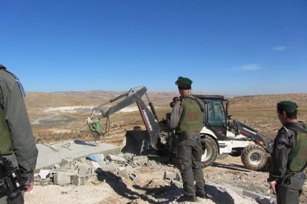 Demolished cistern in Huwara village