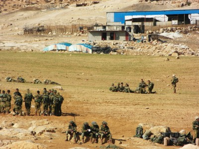 Military exercises at the bottom of one of the villages