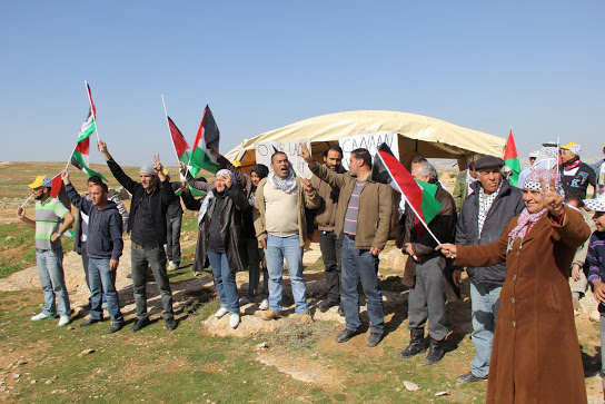 Residents of Canaan just after they erected the tent (Photo: Beit Ommar Popular Movement)