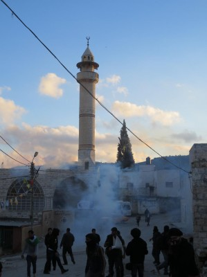 Mosque under teargas attack
