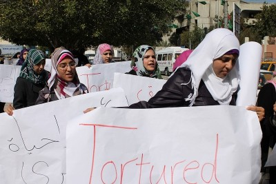 Majeda Sabbah, with other students protesting the death of Arafat Jaradat in Israeli custody . Photo by Joe Catron