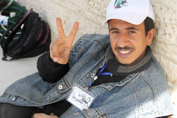 Mohammed Al Adini, hunger striking in solidarity after nine years in Israeli prisons.  Photo by Eva Barlett