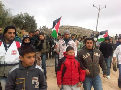 Demonstration in Qaryut (Photo by PSCC)