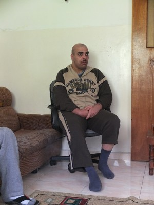 Ra'ed Haj who is unable to walk, talk or hear after he was nerve gassed