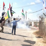 Stun grenades are thrown at demonstrators outside an Israeli military base