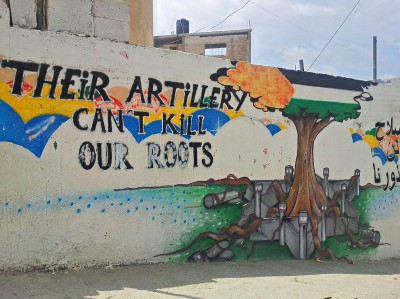 A mural painted outside one of the schools in the camp