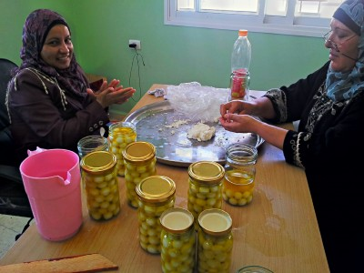 Local women work in the newly opened cheese factory in al-Aqaba.