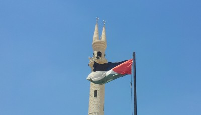 The distinctive double minaret of al-Aqaba mosque.