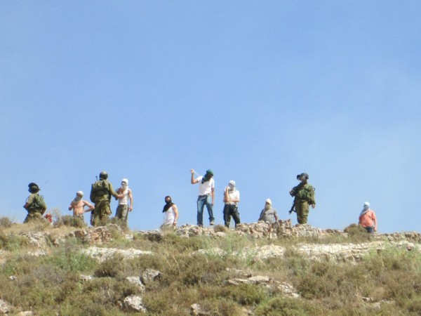 Settlers from Yitzhar throwing rocks at villagers from Asira while Israeli army looks on