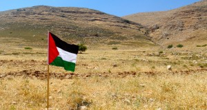 Palestinian flag placed on Palestinian land recently annexed by Elon Moreh