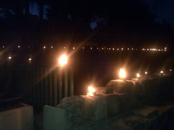 In community remembrance of the Nakbah, Sabastiya villagers observed 15-minutes of a full light-out. Instead, villagers gathered in the village center, a municipal park area, to remember Palestinian displacement from 1948 Palestinian villages.