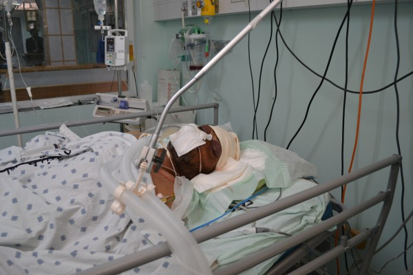 Karim Adel Al Baker, 51, in the hospital's Intensive Care Unit (Photo by Rosa Schiano)