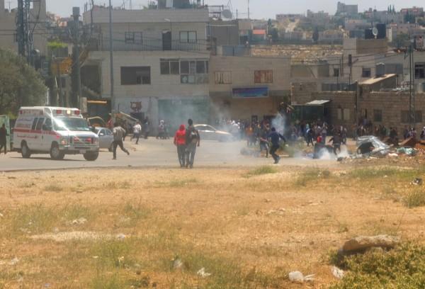 Demonstrators at Al-Khader