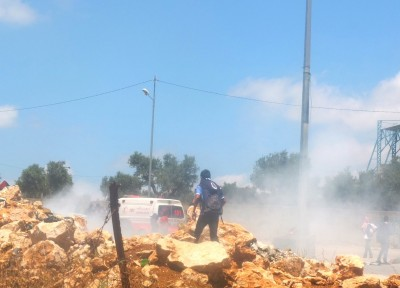 Tear gas is fired at the demonstrators