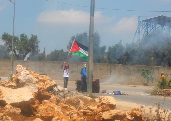 Young demonstrators at Al-Khader