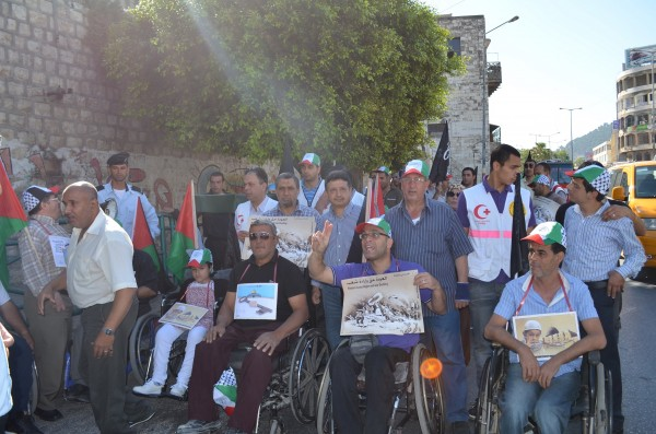 Participants gather in Nablus before the march (Photo by ISM)