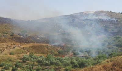 Israeli Settlers set fire to Palestinian's Fields