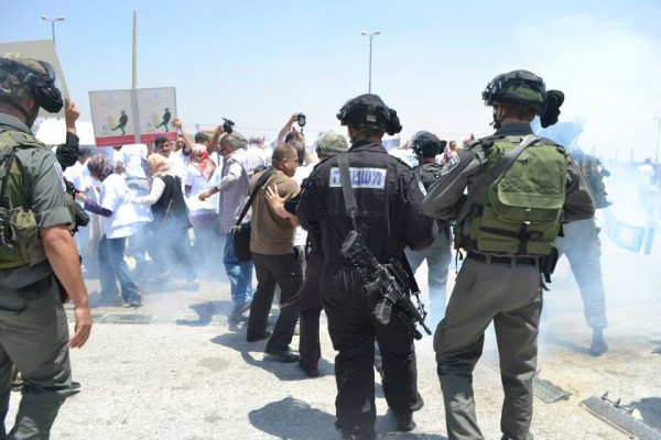 Israeli forces throwing sound bombs at journalists (Photo by ISM)