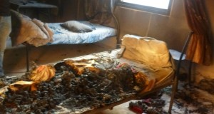 Remains of bed in student room, burnt by teargas canisters (Photo by ISM)