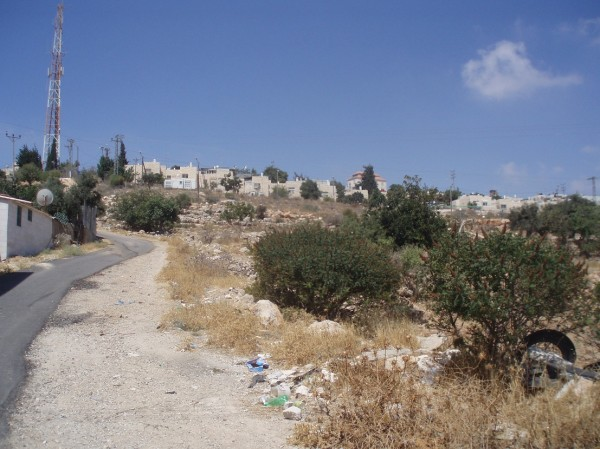 The Israeli settlers tried to pave this road through the Jabari land and straight to the Givat Ha'avot settlement above (Photo by ISM)