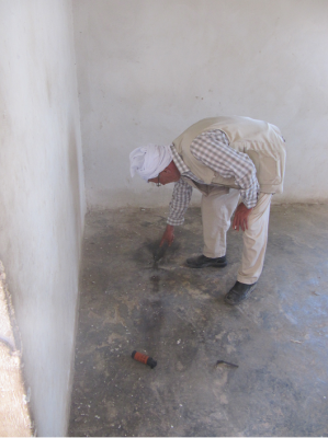 Stun grenade thrown into a home (Photo by ISM)