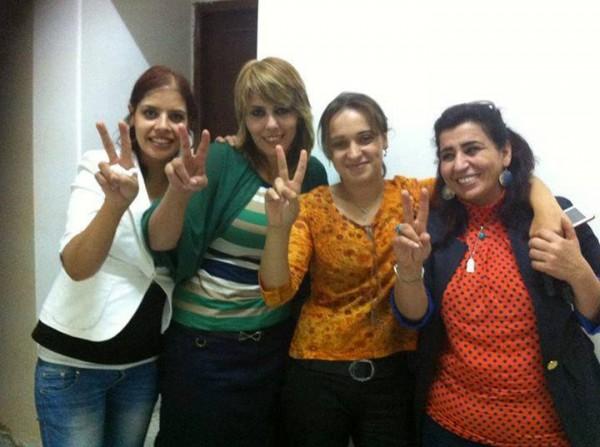 Leena Jawabreh, Linan Abu Ghoulmeh, Woroud Qasem and Myassar Atyani