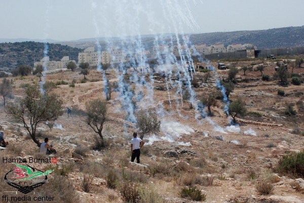 Israeli army firing tear gas at demonstrators (Hamza Burnat)