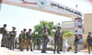 Israeli forces in the village of Ni'lin (photo by Ni'lin village)