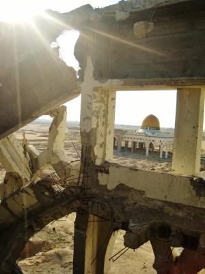 Israeli forces bombed and bulldozed Rafah's Yasser Arafat International Airport in 2001. (Photo by Radhika Sainath)