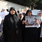 Women rally for Palestinian detainees and martyrs in Gaza. (Photo by Joe Catron)