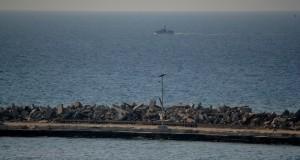 An Israel naval gunship cruises near the Gaza seaport on Wednesday, 13 November. (Photo by Rosa Schianp)