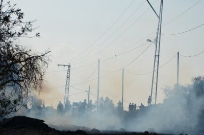 A cloud of tear gas in Kafr Qaddum